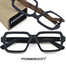 Vierkante Houten Bril Mannen Vrouw Transparante Lens Brand Design Handgemaakte Brillen Mannelijke Vintage Stijl Acetaat Top Kwaliteit S307