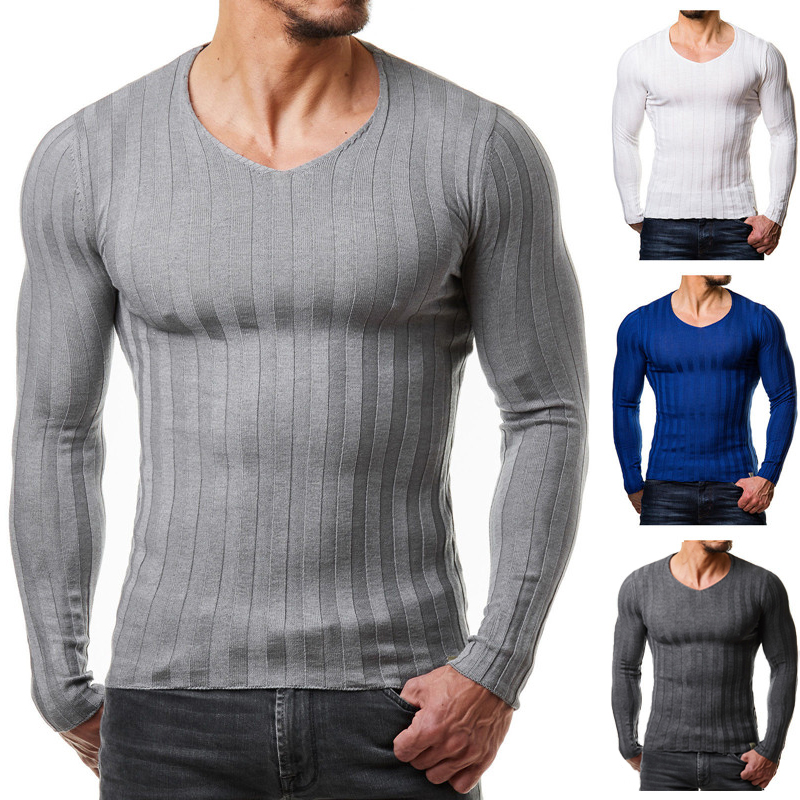 2019 Men Autumn Casual Sweater Plus Size Slim Fit Knitted Basic Sweaters Long Sleeve V Neck Fashion Mens Warm Sweaters Muscle