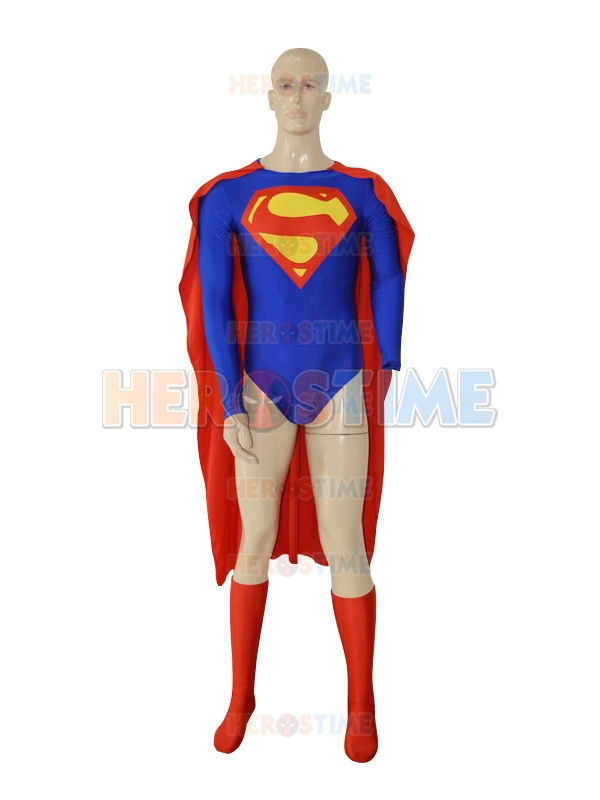 New Design Spandex Superman Superhero Jumpsuit cosplay mens adult superman costume the most popular free shipping