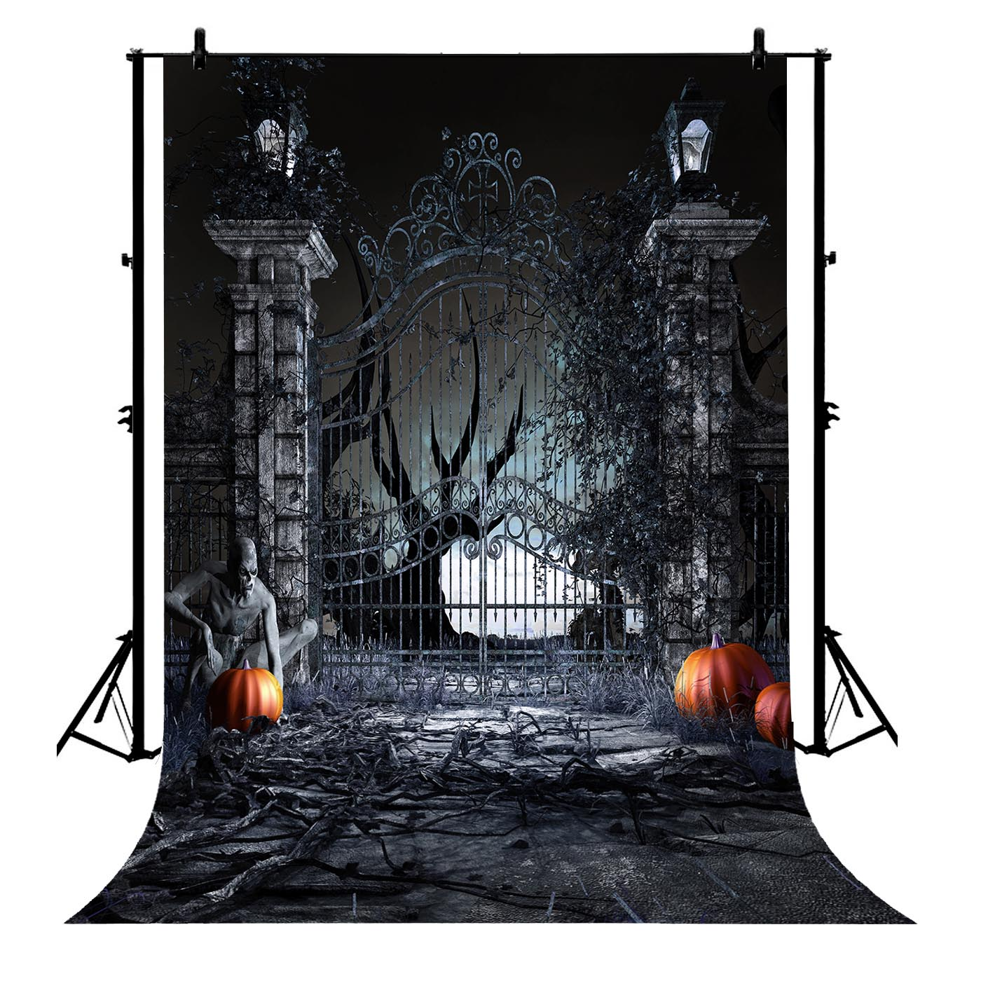 5x7ft Halloween Grungy Iron Front Gate Haunted Mansion Polyester Photo Background Portrait Backdrop
