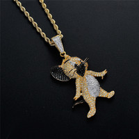 Hip Hop Jewelry Cartoon Anime Character Pendant Necklace For Men Women Micro Pave Zircon Jerry Necklaces Festival Gifts