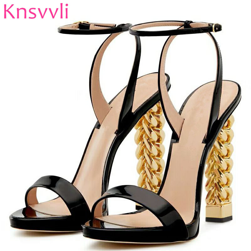 US $61.88 35% OFF|2019 New Black Patent leather High Heel Sandals Women Ankle Buckle Strap Runway Shoes Gold Chain Strange Heel Sandalias Mujer in