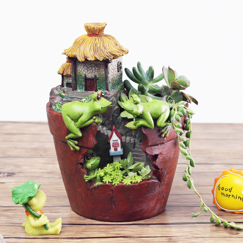 Keybox Hot Sale Lovely Frog Resin Flower Pot Cute