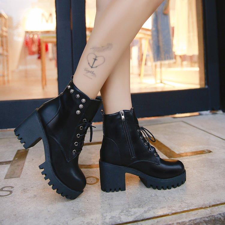 Mujeres Tacón Remache Caliente Grande grey Pu Pu Plataforma Grueso gris Tobillo Alto Botas Sizertg67 Piel negro Suede Cuero Otoño Invierno De Black d6Fgw0qpw