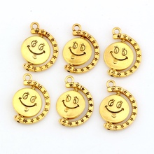 Hot sell !  10 pcs Antique Gold Zinc Alloy Smiley face charm pendants DIY Jewelry18.5x25mm jk2