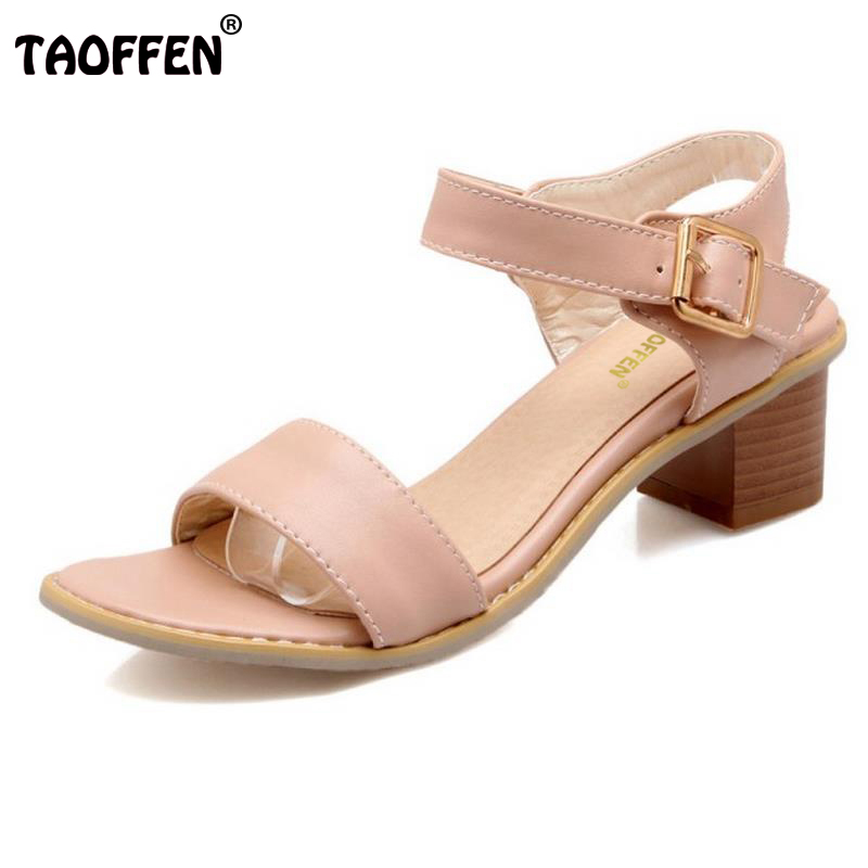 Taoffen Plus Size 30-50 Women Sandals Women Shoes Square Heels Solid Color Simply Summer Shoes Trend Fashion Casual Footwear women s shoes 2017 summer new fashion footwear women s air network flat shoes breathable comfortable casual shoes jdt103