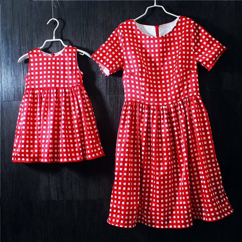 Brand cotton family matching clothes girls jumper skirt women short-sleeved dress mother daughter holiday vacation beach dresses цена и фото