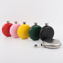 Top Quality Candy Color 5oz Stainless Steel Mini Hip Flasks Round Flagon Whiskey Wine Liquor Flask Portable Travel Men Gift