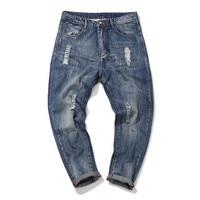 Straight Jeans Men Distressed Water Washed Jeans Man Plus Size XXXL 4XL Fashion Pants Spring Autumn