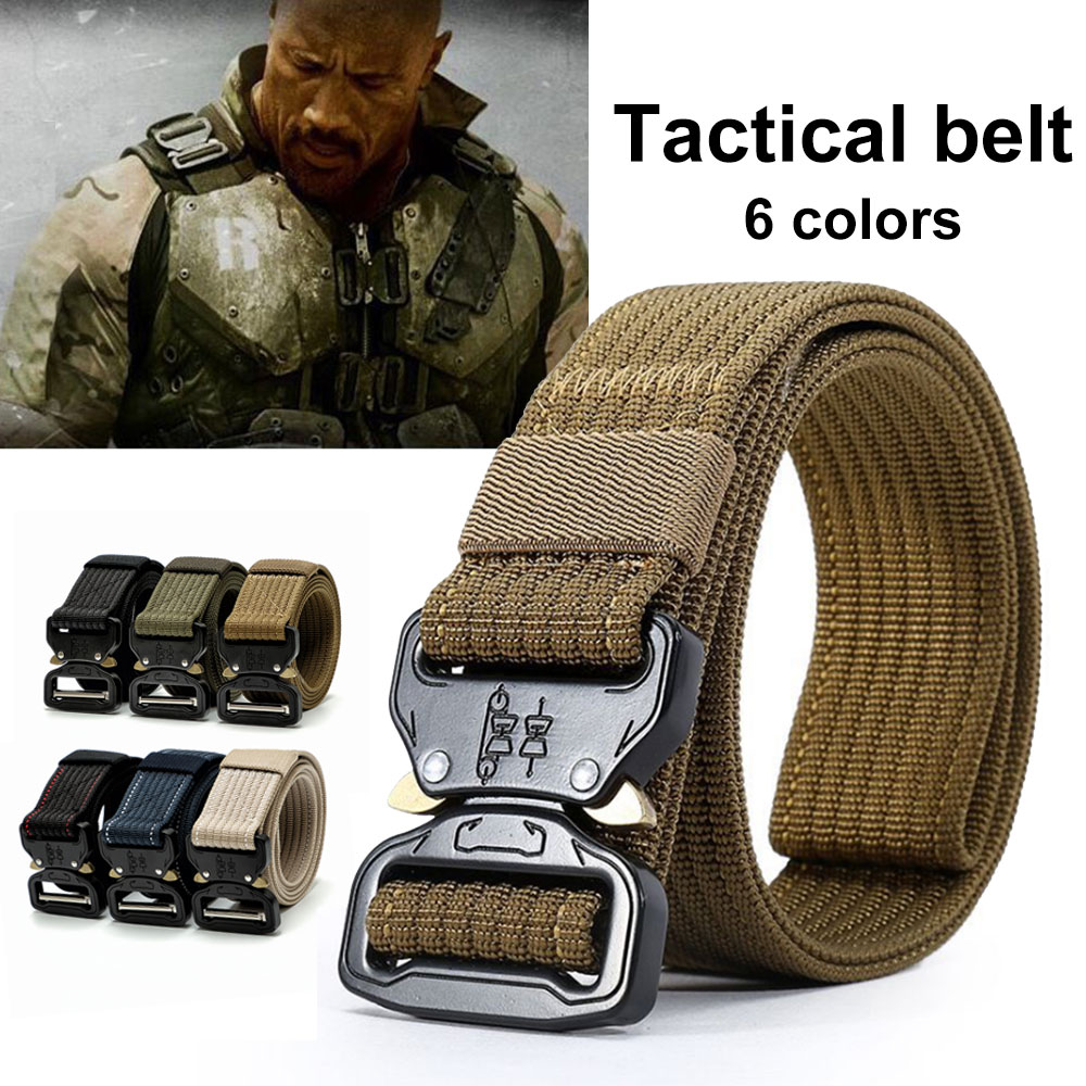 Training Belt Practicality Emergency Survival Zinc Alloy Buckle Waist Straps Durability Nylon Webbing Military Equipment stylish zinc alloy cowhide waist decoration keychain brown coffee