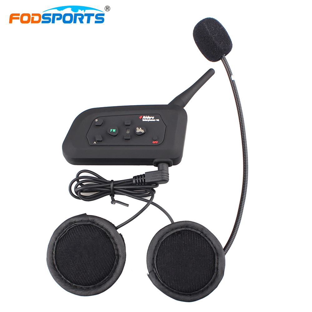 Fodsports Helmet Intercom Motorcycle Intercom Helmet Headsets Bluetooth 3.0 Wireless Interphone 4 Riders Talking Handsfree Radio