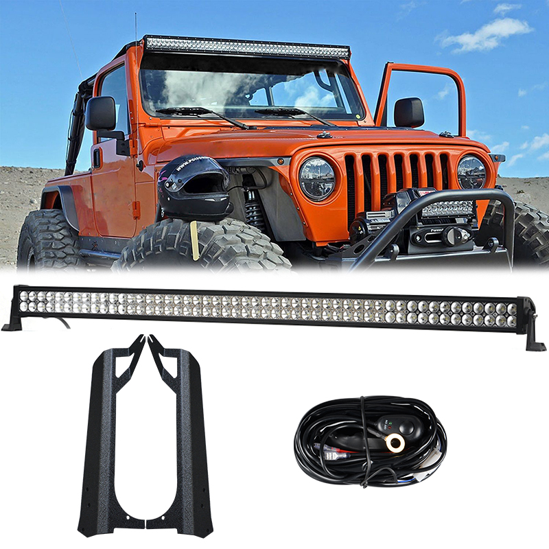1 x 288W 50'' Inch LED Light Bar + Mounting Brackets For Jeep Wrangler TJ 1999-2006 4WD SUV auxmart 22 led light bar 3 row 324w for jeep wrangler jk unlimited jku 07 17 straight 5d 400w led light bar mount brackets