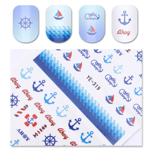 1 sheet sea water decal anchor ship fish starfish summer nail art transfer sticker