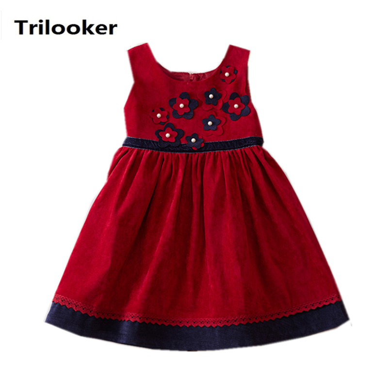 kids girls fall spring sleeveless corduroy red blue flower princess party dresses children fashion casual vest patchwork dress 2016 spring winter children baby kids girls stripe princess lace mesh dress girls fall sleeveless dresses kids dresses for girls