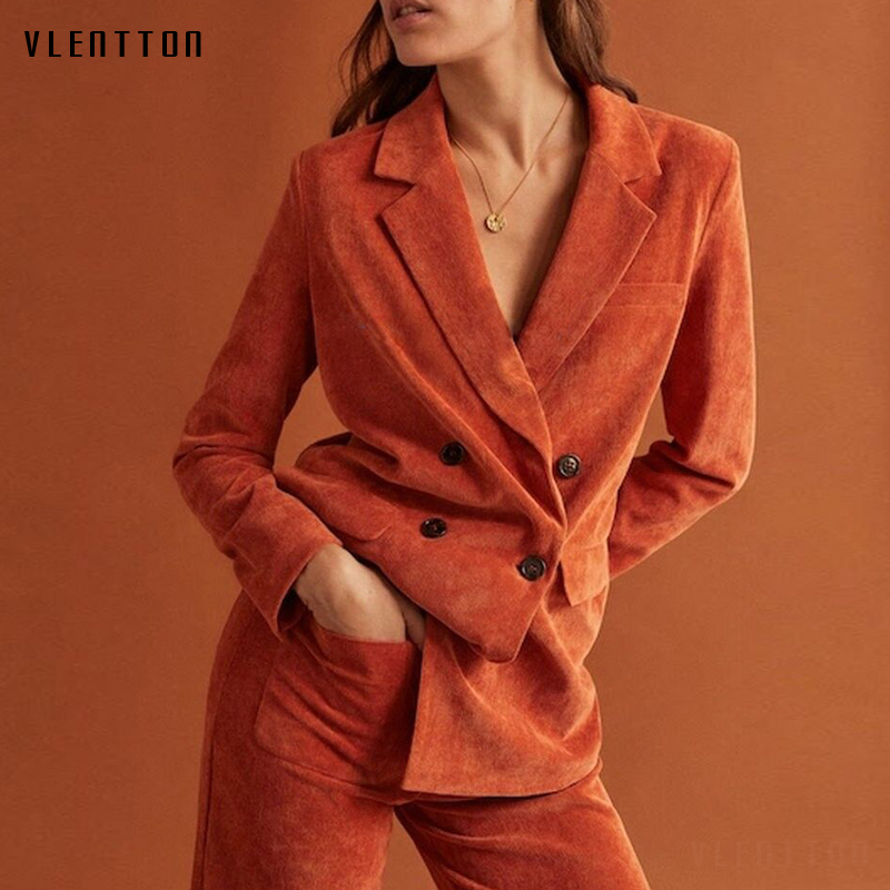 2019 Corduroy Work Women 39 s Pant Suit Double Breasted Office Lady Jacket Blazer amp Wide Leg Pants Two Piece Sets Female Trouser in Pant Suits from Women 39 s Clothing