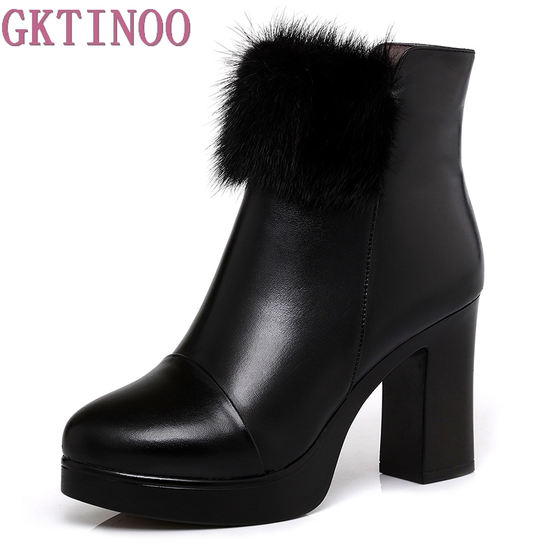 New 2018 Sexy Women Boots Fashion Platform Square High Heels Black Ankle Boots For Woman Genuine Leather Ladies Shoes new women shoes square high heel platform boots woman tassel women boots black yellow beige gray ankle boots