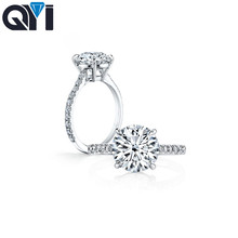 QYI 3 ct Round Cut 925 Sterling Silver Ring Classic Wedding Jewelry Cubic Zircon Rings For Women Bridesmaid Gifts
