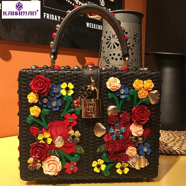 Luxury Exquisite Rivet Bag Genuine Cowhide Leather Messenger Flower Box Women Handbag Locks
