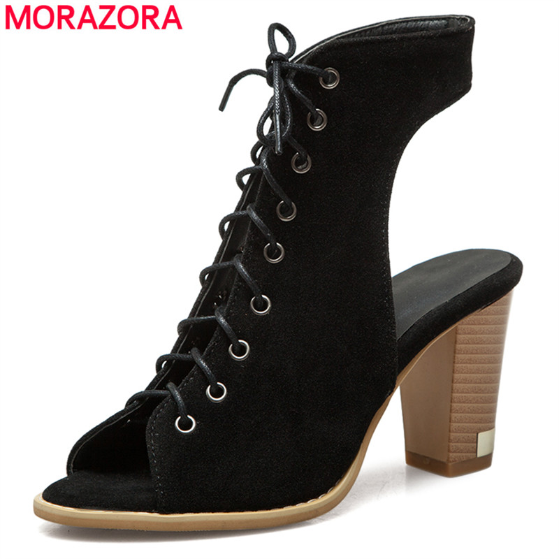 MORAZORA Size 34-50 New 2018 gladiator sandals women high heels summer shoes ladies party prom shoes woman sexy footwear summer high quality women flats sandals plus size 34 43 new fashion casual ladies sandalias comfort mujer gladiator woman shoes