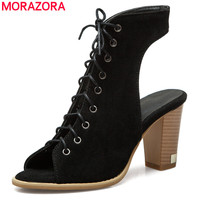 MORAZORA Size 34 50 New 2018 Gladiator Sandals Women High Heels Summer Shoes Ladies Party Prom