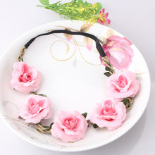 New High Quality Peony Women's Bohemian Floral Headbands Flower Party Wedding Hair Wreaths Hair Band Ornaments Beach Wrap(China)