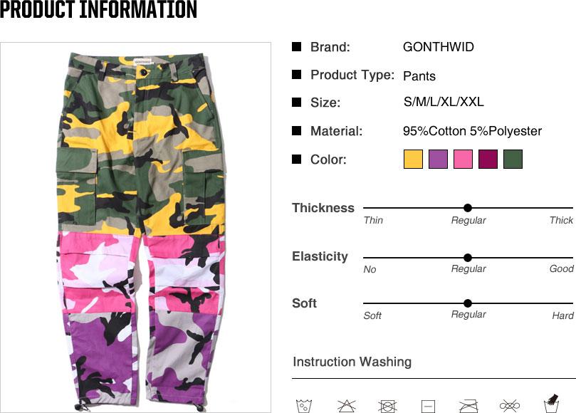 Tri Color Camo Patchwork Cargo Pants