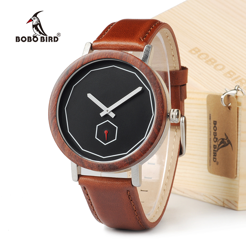 BOBO BIRD M28 Rose Sandalwood With Metal Analog Quartz Watch For Men Luxury Brand reloj hombre 2017 As Gift bobo bird mens watch red sandalwood analog wooden quartz wrist watches with luxury watch famous brand in gift box free shipping