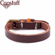 цена на hot sale 5pcs/lot man's unisex NEW ARRIVAL Real Leather Adjustable Wrist Cuff Bangle Bracelet best price xx