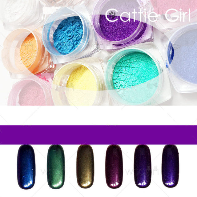 2g Magic Mirror Powder Aurora Powder Pearl Glitter Nail Gel Polish ...