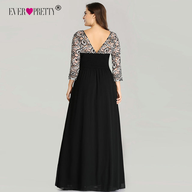 Ever Pretty Plus Size Evening Dresses Long 2019 Lace Long Sleeve Chiffon Mother of the Bride Dress Winter Autumn Evening Gowns 3