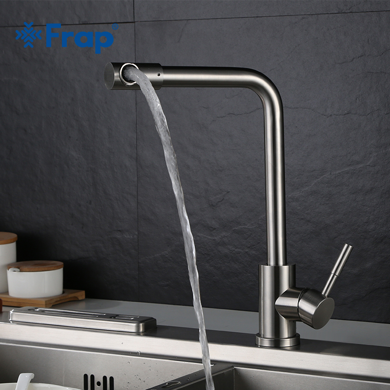 Frap 1 set Flexible Kitchen Faucet Single Handle Tap Single Hole Handle Swivel 360 Degree Water Mixer Tap Hot and Cold Y40009 360 rotate copper chrome swivel kitchen faucet mixer cold and hot silver single hole handle kitchen water tap
