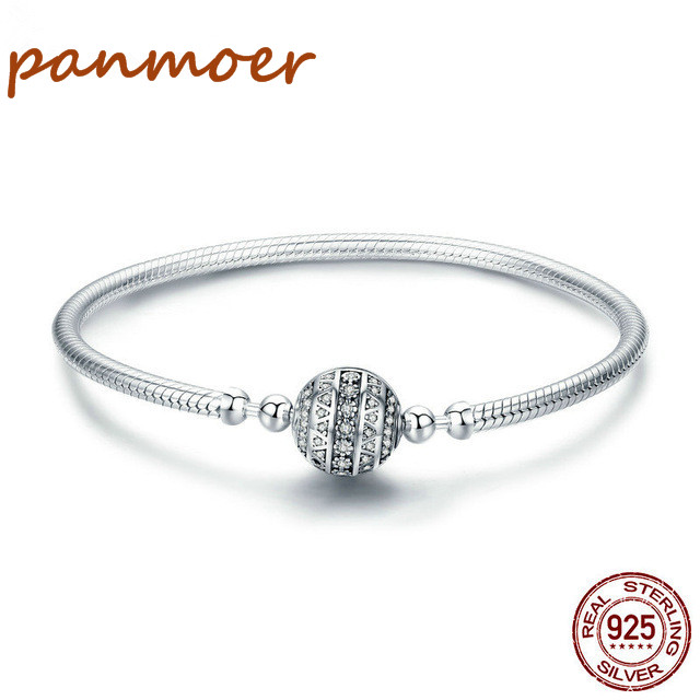 2018 new Authentic 925 Sterling Silver AAA CZ bracelet Women Snake Chain LOVE Bracelet pandor Round Clasp fine style Jewelry