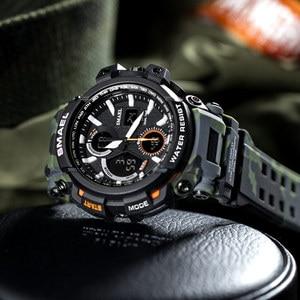 Image 1 - Мужские часы 2018 SMAEL, роскошные часы ведущей марки, мужские часы в стиле G, военные, армейские, спортивные наручные часы S Shock, светодиодные аналоговые, цифровые часы Saat