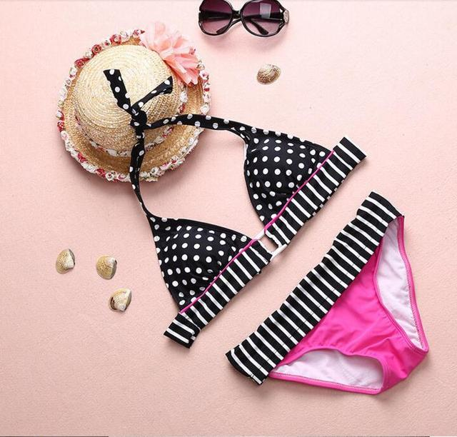 Retro Two Piece Bikini Halter Top Swimsuit