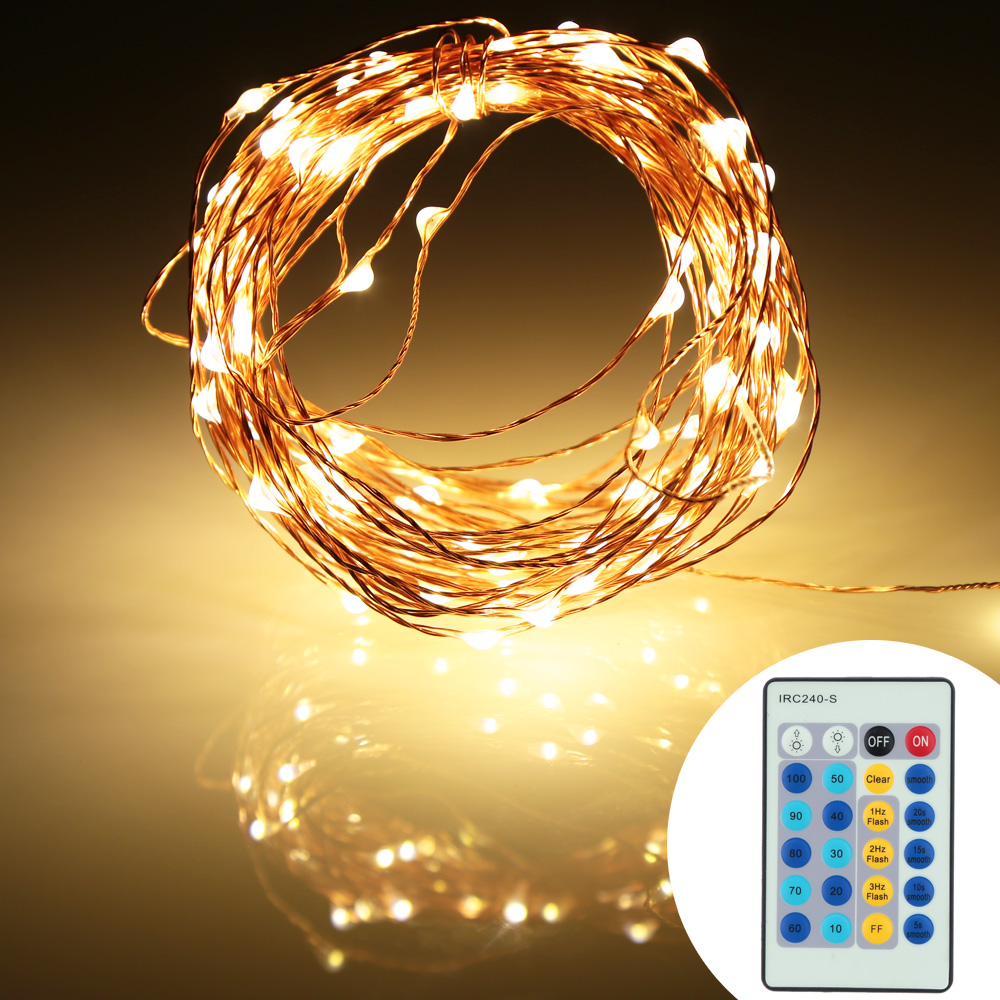 DC 12V 10M 100 Led Copper Wire Led String Fairy Lights Lamp With Adapter For Decoration Led String Lights+Remote Control
