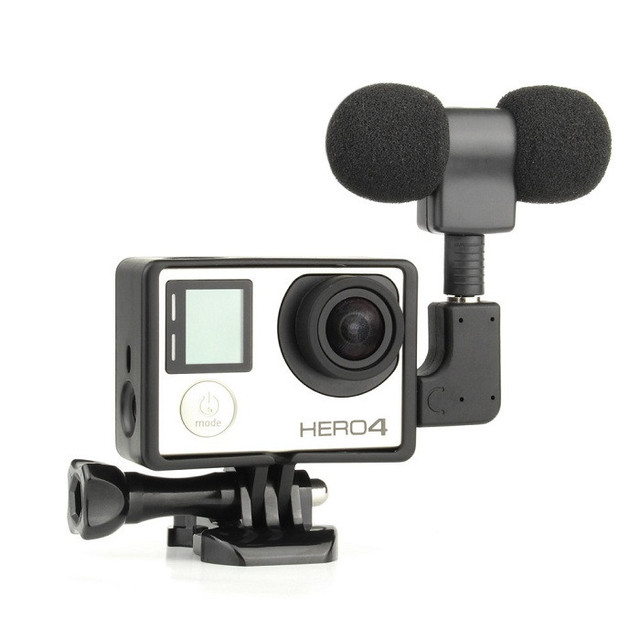 Gopro Accesorio Profesional Mini Micrófono Estéreo + Caso Del Marco Estándar USB a 3.5mm adaptador de micrófono de cable para gopro hero 4 3 + 3