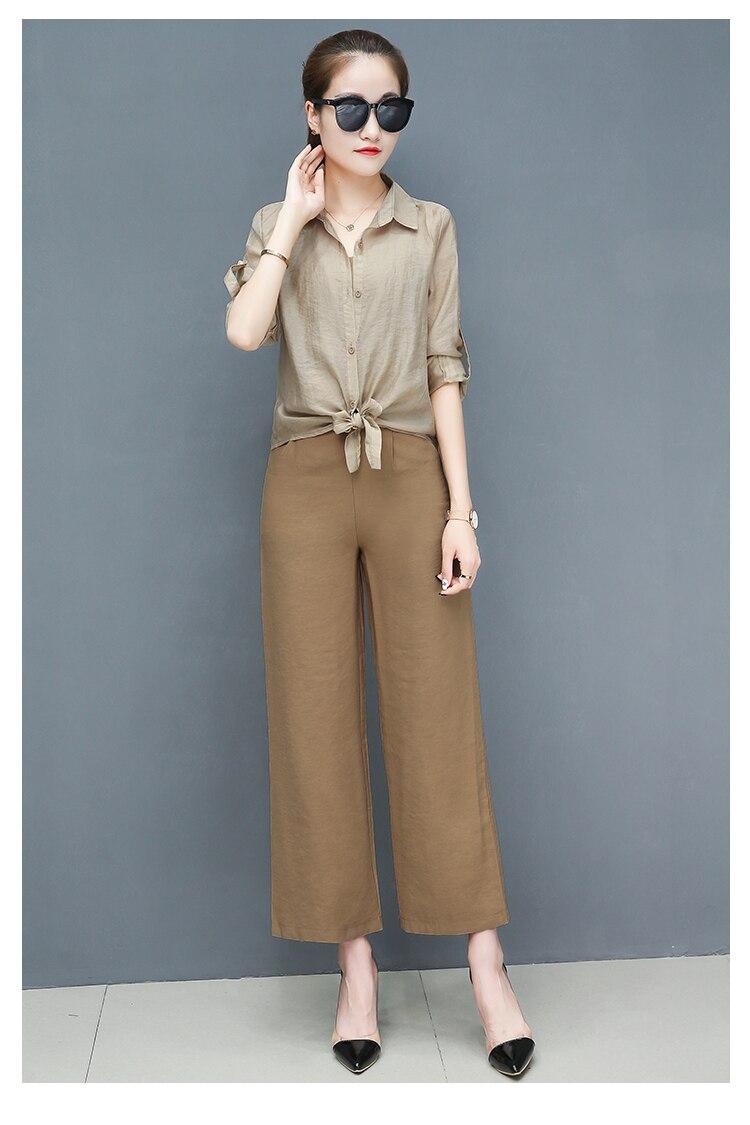 2019 Spring summer women sets office lady elegant chiffon blouse shirts+female wide leg pants trousers pantalon two piece sets 10