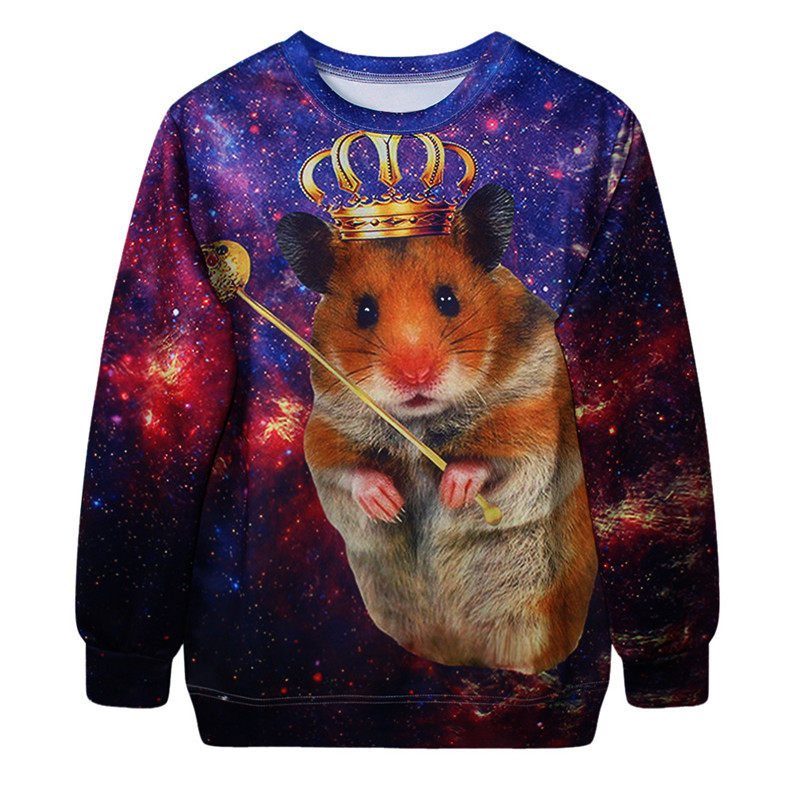 Autumn Funny Hamster Sweatshirts 3D Galaxy King and Queen Hoodies Novelty Image Jacket Hoodies Cute My Neighbor Totoro Pullover