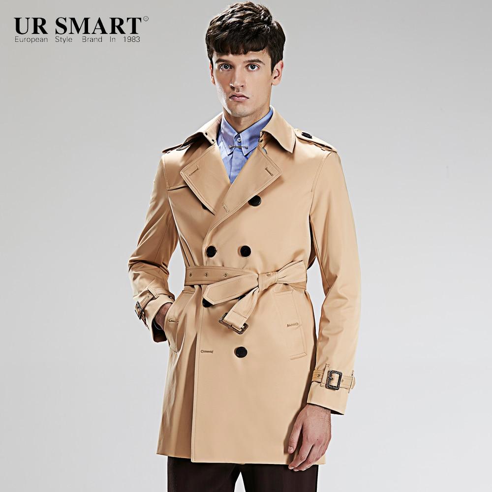 URSMART brand men's new winter long in men's windbreaker double-breasted honey yellow male trench coat