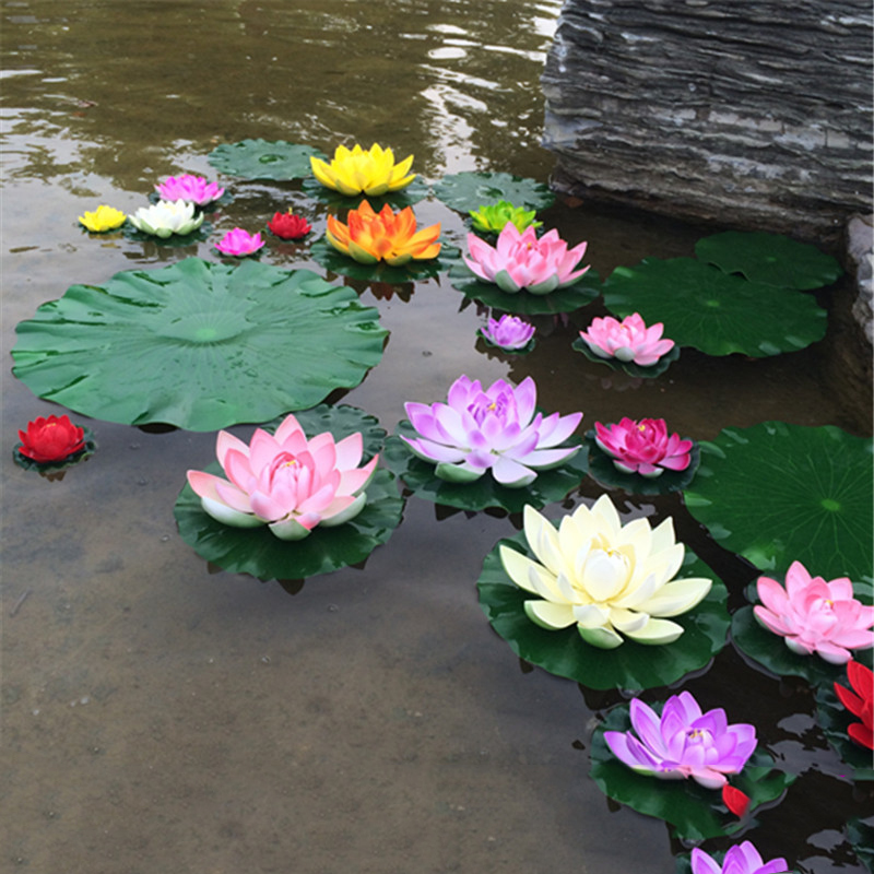 1PCS 10CM Real Touch Artificial Lotus Flower Foam Lotus Flowers Water Lily Floating Pool Plants Wedding Garden Decoration