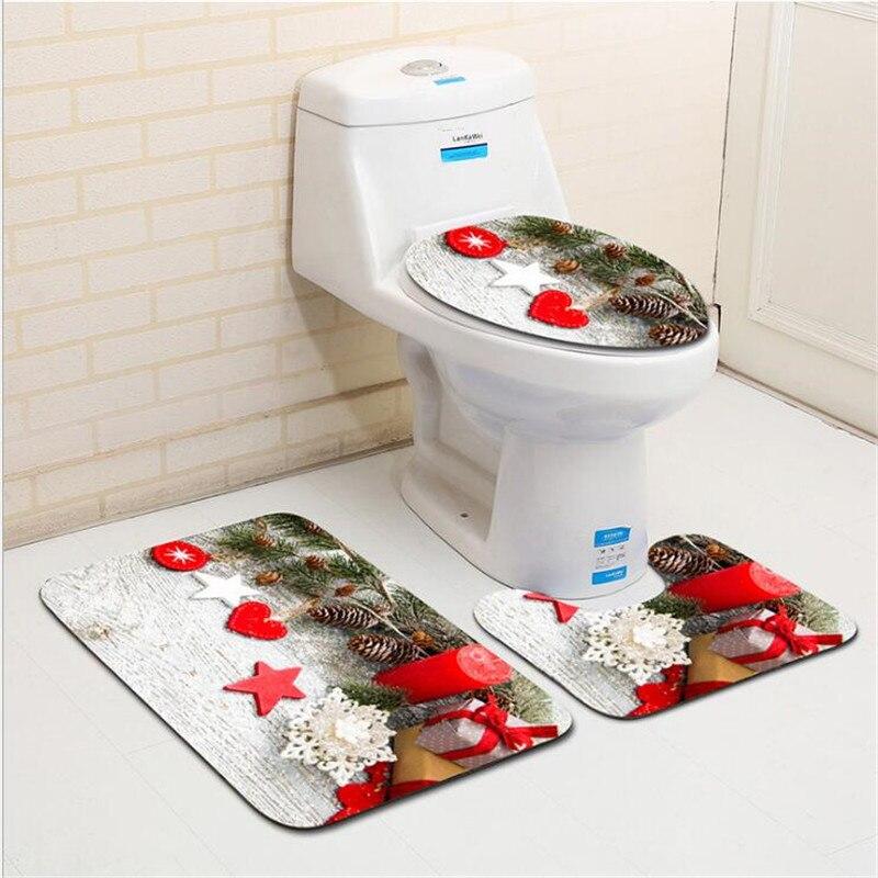 Tapete de Porta 3 Pcs wc Mat Anti Slip Bath Mat Set Natal Banheiro Tapete Banheiro Tapete Tapete Sala da Cozinha