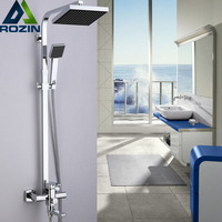 8 Rain Black Face Showerhead Shower Mixer Tap Bathroom Shower Faucet with Rotation Tub Spout Chrome Finish