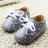 Cool Baby Moccasins Toddler Unisex PU Soft Sole Antislip Silver Star Kids Boy Girl Infant Shoe