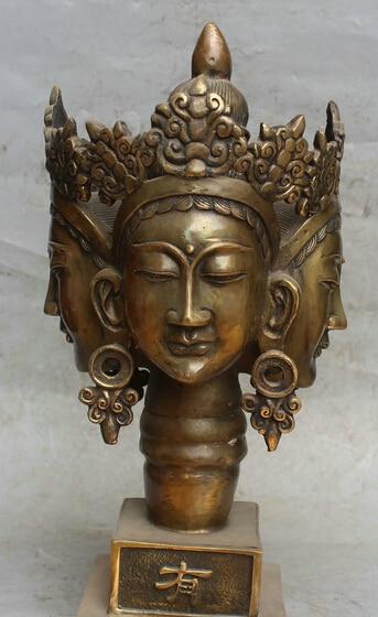 13Chinese Buddhism Copper 4 face Kwan-yin Guan Yin head bust statue sculpture R0711 B040313Chinese Buddhism Copper 4 face Kwan-yin Guan Yin head bust statue sculpture R0711 B0403