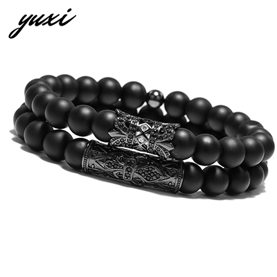 Men Flower Elastic Rivet Accessories Piercing Bracelet