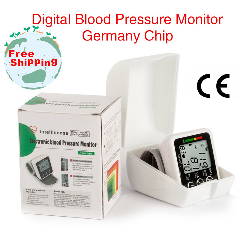 Health Care Germany Chip Automatic Wrist Portable Digital Blood Pressure Monitor Tonometer Meter For Measuring Pulse Rate
