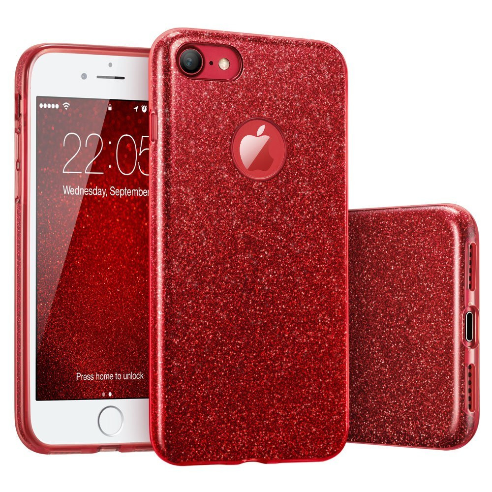 maxgear 3 in 1 gradient cover for iphone 6 6s plus case glitter clear pc tpu coque 7 7 plus