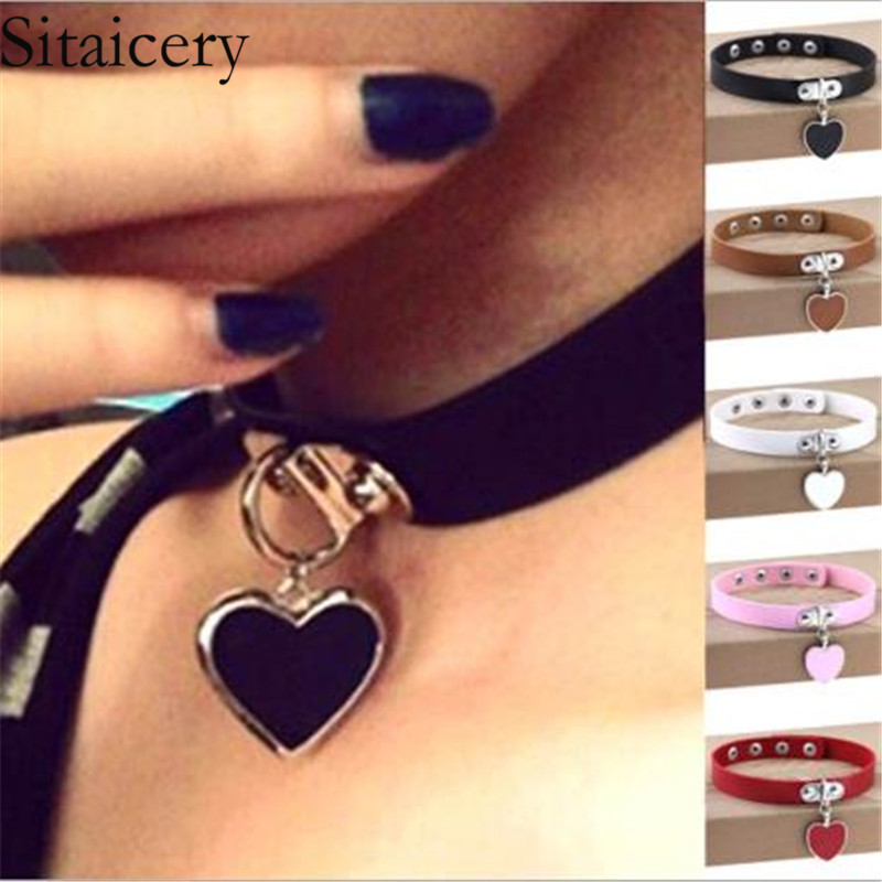 Sitaicery Leather Heart Choker Collar For Women Gothic Punk Choker Chain Silver Color Collar Sexy Vegan Chocker Women 39 s Jewelery in Choker Necklaces from Jewelry amp Accessories