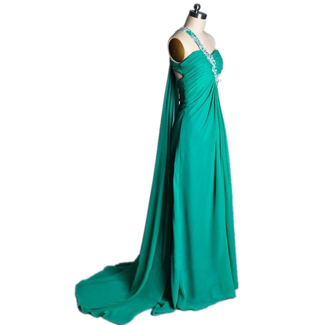One Strap Green Chiffon Prom Dress With Flap High Waist Beaded Open ...