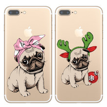 Cute Puppy Pug Soft TPU Phone Case Coque Fundas For iPhone 11 Pro X XR XS Max 8 7 6 6S Plus 5S SE Merry Christmas TPU Cover Capa(China)